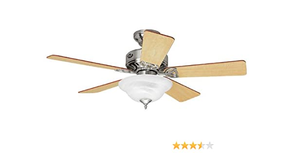 Hunter H28035 Auberville 44 Brushed Nickel Ceiling Fan With Light