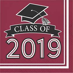 Class of 2019 Graduation School Spirit Burgundy & Black Party Tableware & Decorations for 36 Guests by Party Creations (Image #3)
