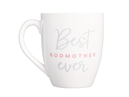 Pearhead 'Best Godmother Ever' Ceramic Coffee Mug in White, Special Baptism Gift for Godmother, 14oz (Godmother Gift)