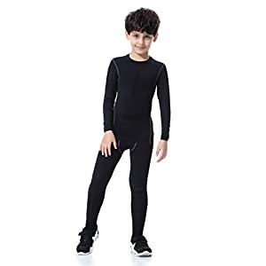 LNJLVI Boys & Girls Sports Compression Shirts Long Sleeve and Pant 2 PCS Set