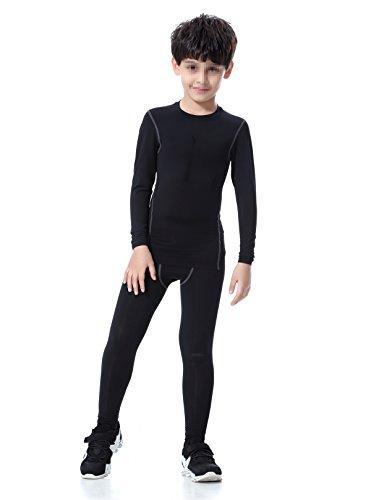 LNJLVI Boys & Girls Sports Compression Shirts Long Sleeve and Pant 2 PCS Set (12, Black) (Compression Pants For Kids)