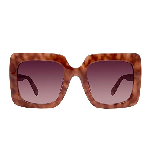 DIFF Eyewear - Sasha - Women's Designer Oversized Sunglasses - 100% UVA/UVB Protection (Plum Tort + Wine Gradient Lens)