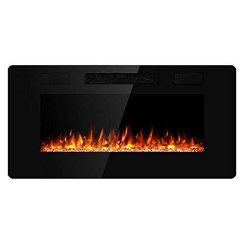 JAMFLY Electric Fireplace Wall Mounted 36 Inch Insert 3.86 Inch Thin Electric Fireplace Recessed Fit for 2 x 6 and 2 x 4 Stud Adjustable 12 Flame LED Colors Remote Control with Touch Screen(Black) (Wall Electric Fireplace Heaters)