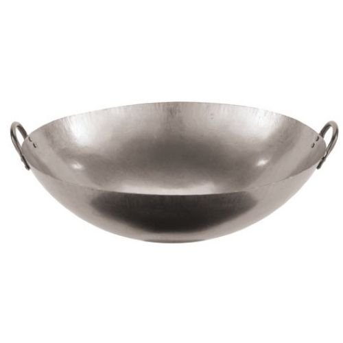 Paderno World Cuisine 18-Inch Dual Handled Steel Chinese Wok (Cast Cuisine Pan Iron Fry World)