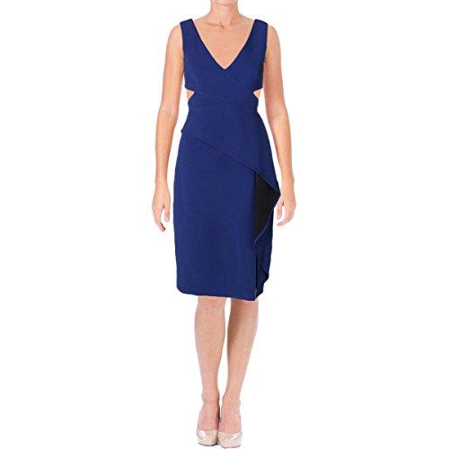 BCBG Max Azria Womens Riya Ruffled Cut-Out Cocktail Dress Blue 12