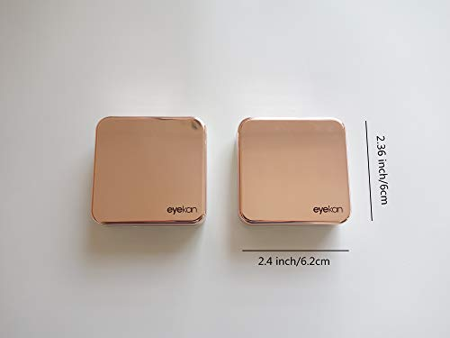 Contact Lens Case Kit with Mirror, Pack of 2 Compact Travel Contact Case for Daily and Outdoor Use (Rose Gold)