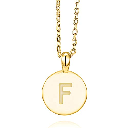 PAVOI 14K Yellow Gold Plated Letter Necklace for Women | Gold Initial Necklace for Girls | Letter F ()