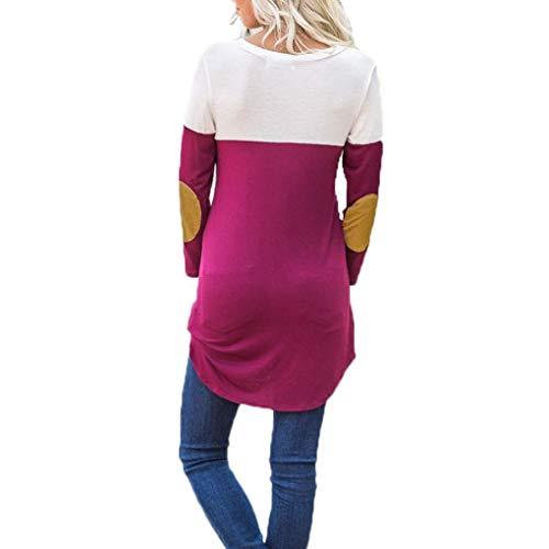Top Sciolto con a Tasca Manicotto del Donne V Patchwork Red T Autunno Camicetta Maniche Shirt Lunghe Scollo X7wfCxxnF