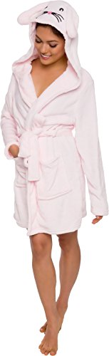Le Top Hooded Robe (Silver Lilly Women's Animal Hooded Robe - Plush Short Bunny Bathrobe by (Pink, L))