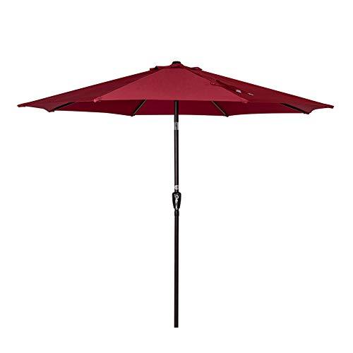 Sundale Outdoor 9 Feet Aluminum Market Umbrella Table Umbrella with Crank and Auto Tilt for Patio, Garden, Deck, Backyard, Pool, 8 Alu. Ribs, 100% Polyester Canopy (Burgundy)