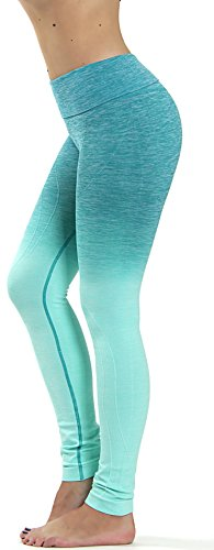 Prolific Health Fitness Power Flex Yoga Pants Leggings – All Colors – XS – XL (Large, Ombre AQUA)