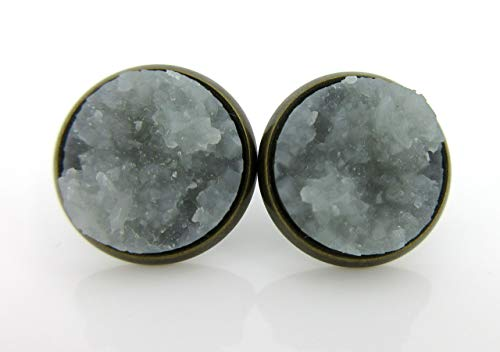 Antiqued Gold-tone Gray Faux Druzy Stone Stud Earrings 12mm