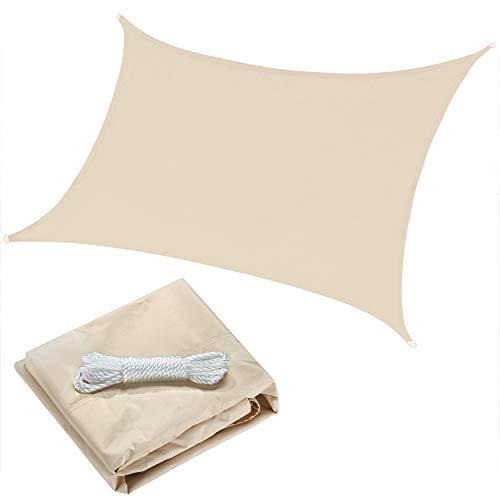OYE HOYE 7' x 13' Sun Shade Sail Beige Rectangle Waterproof Polyester Canopy Sail Shade UV Block for Grade Outdoor Patio Garden Backyard Sand