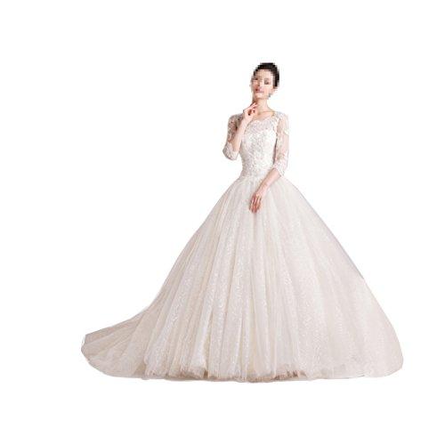 3/4 sleeve ball gown wedding dress - 9
