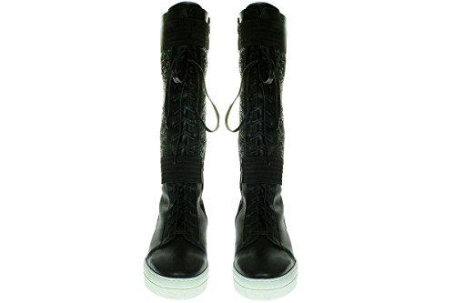 Maruti Piel Multicolor Mujer Zapatillas Negro Para De BqvUw0zq1