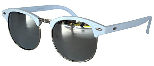 Retro Classic Sunglasses Metal Half Frame With Colored Lens Uv 400 (White-Silver-Mirror, Colored) ()