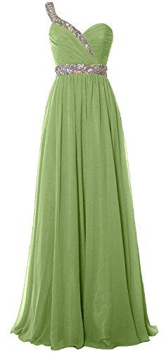 2018 Elegant clover One Prom Chiffon Long Formal MACloth Dress Shoulder Gown Evening qwYZqdP