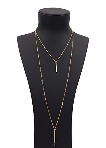 Zealmer Women Simple Golden Layered Metal Chain Pendant Bar Necklace