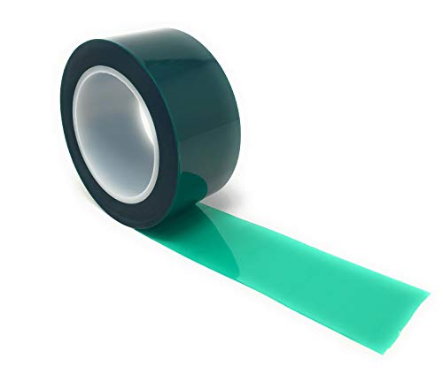 APT, (2'' X 72 Yds, Green), 2 Mil Polyester Tape with Silicone Adhesive, PET Tape,Mylar tape, high Temperature Tape, 3.5 mil Thickness, Powder Coating, E-Coating, Anodizing, high temp masking.(2 -