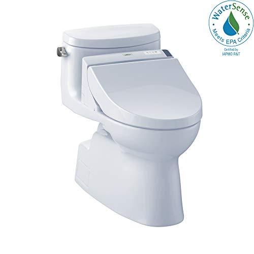 (TOTO MW6442044CEFG#01 WASHLET+ Carolina II One-Piece Elongated 1.28 GPF Toilet and WASHLET C200 Bidet Seat, Cotton White )