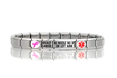 Dolceoro Breast Cancer NO Needle NO BP ON Left ARM Medical Alert Bracelet - Stainless Steel Stretchable Modular Charm Links