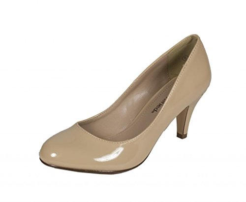 Lustacious Womens Classic Round Toe Mid Heel Everyday Slip On Pumps Dark Beige Patent Leatherette XL5gHo