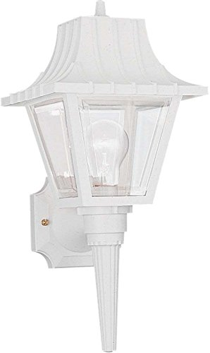 Polycarbonate Lanterns Collection (Sea Gull Lighting 8720-15 One-Light Outdoor Wall Lantern with Clear Beveled Acrylic Panels, White Finish)