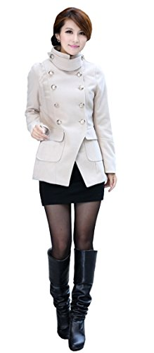 Blend Ivory Wool Jacket (OUCHI Women Charm Stand Collar Double-breasted Slim Fitted Cropped Short Coat Cream)