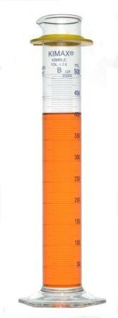 Kimax 20025-500 Glass Class B Single Blue Metric Scale Graduated Cylinder with Bumper, 500mL Capacity, 25 - 500mL Graduation Interval