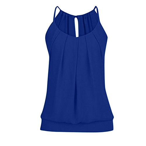 (Sunhusing Women's Loose Pleated Round Neck Drawstring Lace-Up Camisole Tank Tops Wrinkled Vest Dark Blue)