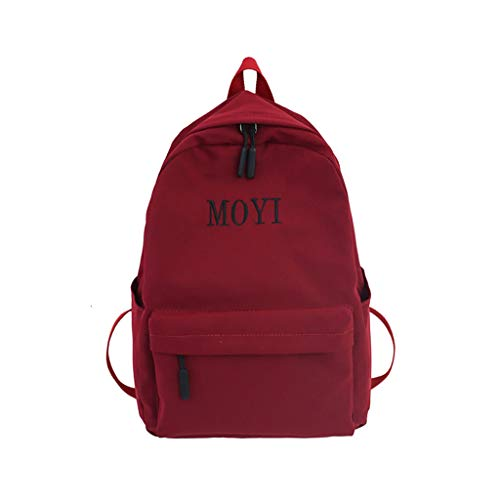 QBQCBB Fashion Women Nylon Solid Color Capacity Student Backpack Travel Couple Bag(Red,Freesize)