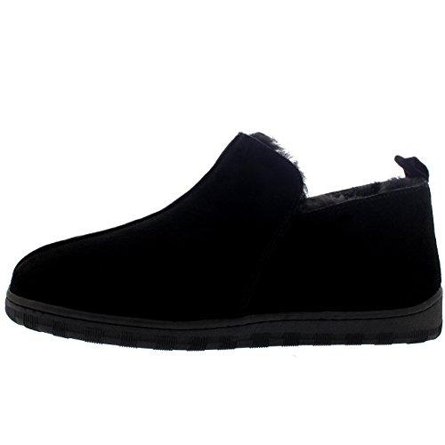 Heren Echte Enkellaars Winter Warme Pantoffels Zwart