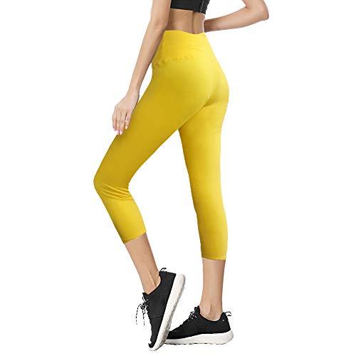 TNNZEET High Waist Capri Leggings for Women Opaque Slim Regular & Plus Size Elastic Buttery Soft Classic Yoga Pants (Gold, One Size)