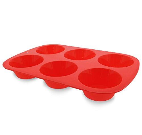 Elbee Home 621 Premium 6 Cupcake Muffin Baking Pan Mold Easy Clean Red by Elbee (Image #6)