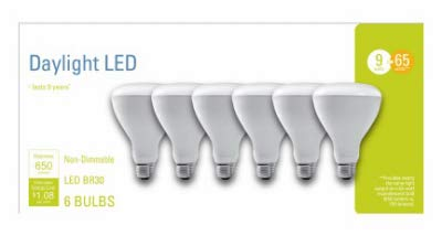 G E LIGHTING 93098315 LED Light Bulbs, Frosted Daylight, 9-Watt, 650 Lumens, 6-Pk. - Quantity 1