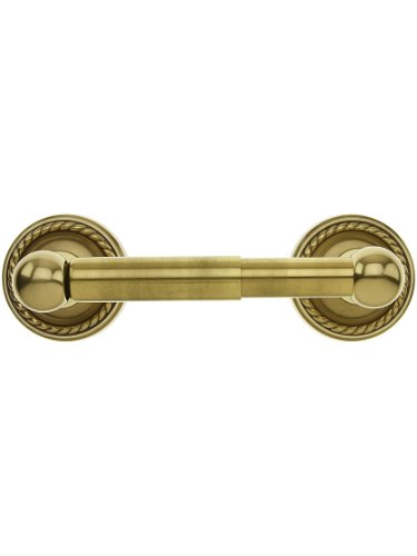 Brass Paper Holder with Rope Rosettes in Antique Brass ()