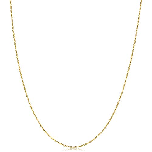 Kooljewelry 14k Solid Yellow Gold 1 mm Flat Cable Chain Necklace (16, 18, 20, 22, 24 or 30 inch)