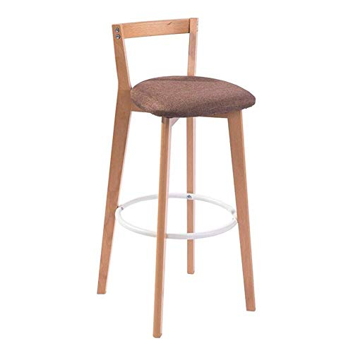 Bar Chair Solid Wood High Stool Kitchen Breakfast Stool Lounge Chair PU Cushion Sitting Height 71cm LIUDINGDING (Color : Log+Coffee Color Linen, Size : 39.571cm)