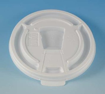 WinCup DT8 Drink Thru, Tear Tab, Lock Back White Plastic Lids 1000 Count 8 oz