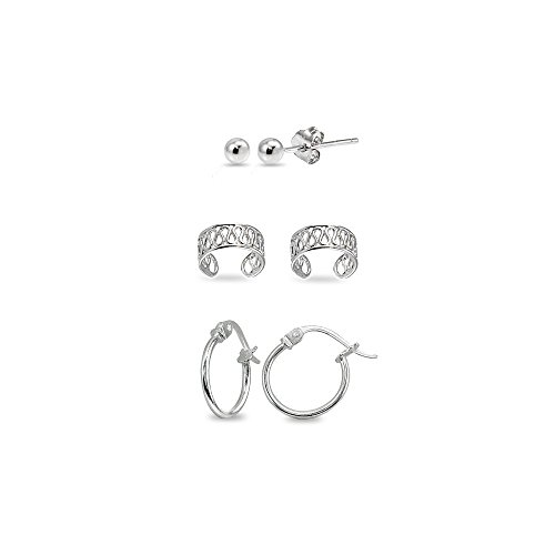3 Pairs Sterling Silver Ear Cuff Cartilage Clip, 12mm Tiny Small Hoops & 3mm Round Ball Stud Earrings ()