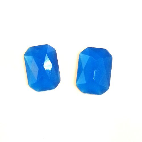 24 Neon Blue Rectangle Faceted DIY Art Resin Flatback Rhinestone foiled 13mm x 18mm ~ T2-23 x 6