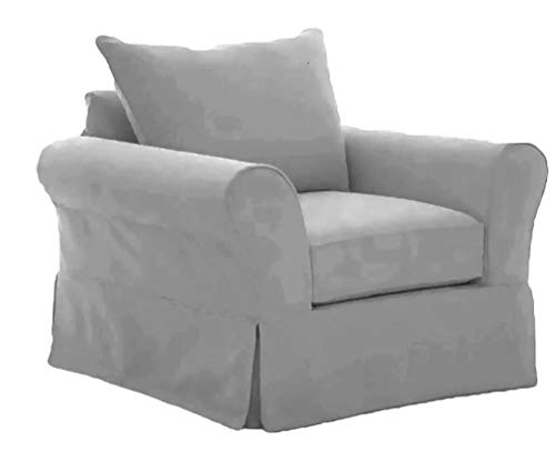 The Cotton Sofa Chair Cover Only Fits Pottery Barn PB Comfort Roll Arm Armchair. A Durable Slipcover Replacement (L Gray Grand Knife Edge) (Pottery Barn Pb)
