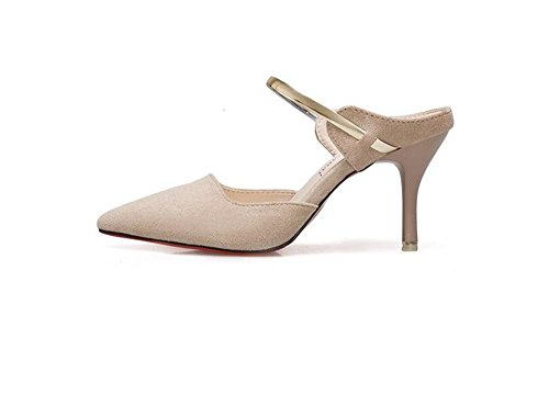 Toe Luxury Closed Slide Women's Slip Fashion Slippers Pointy Beige Shoes Dress Pumps On Heeled Sandals Summer wtHaxwrqA