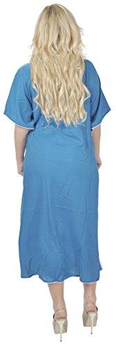 La Leela además de las mujeres de rayón viscosa tamaño largo caftán cordón ropa de noche bordados Azul