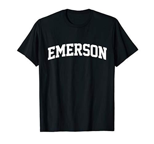 Emerson Name First Last Retro Sports Arch T-Shirt (Emerson Shirt Black)