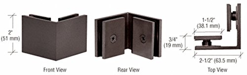 CRL Oil Rubbed Bronze Square 90 Degree Glass-to-Glass (Oil Rubbed Bronze Leg)