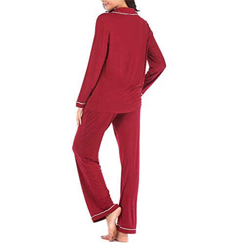 Pajamas Set Long for Women\'s Button Down Sleeve Sleepwear Nightclothes Soft Pj Lounge Sets Red XXL