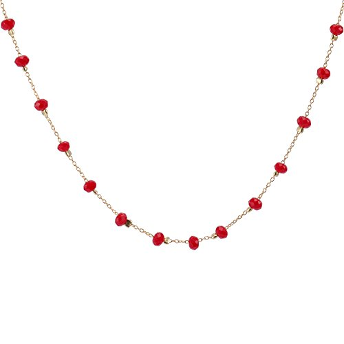 (Cddos Hand-made 2 mm Crystal Bead Necklace in Silver or 14K Gold (Red, yellow-gold-plated-stainless-steel))