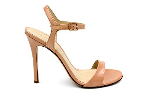 Christina Lombardi - Women's High Heel Sandal - The Heidi in Nude Patent Leather - Size 37.5 by Christina Lombardi