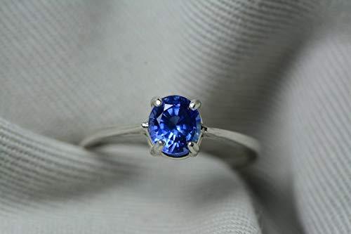 Unheated Ceylon Sapphire Ring, GIA Certified, 1.22 Carats, Sri Lanka Origin, Brilliant Cut, Blue Color, Natural Genuine Sapphire Jewelry ()